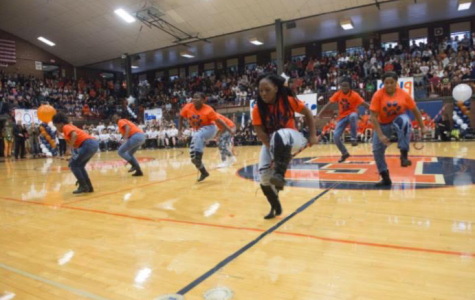 Step team practices their moves for competition and pep rally