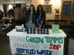 Natalie Jacobson, senior and Fidak Khan, junior sell reusable water bottles