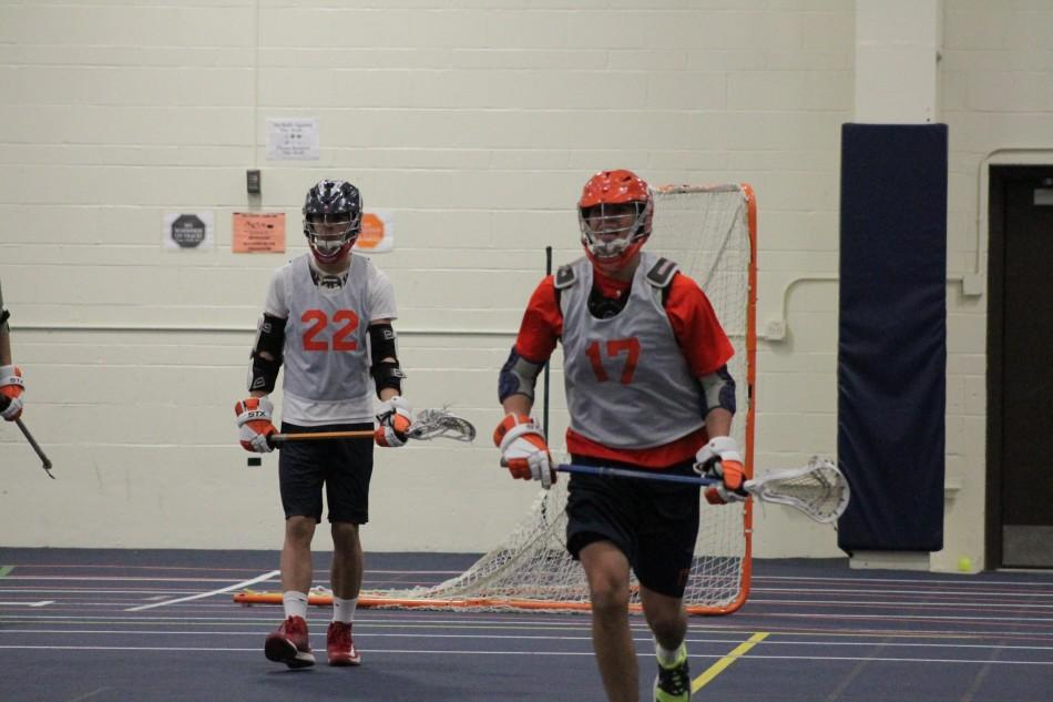 Seniors Charlie Cunningham(right) and Sam O'Donnell at a preseason practice.