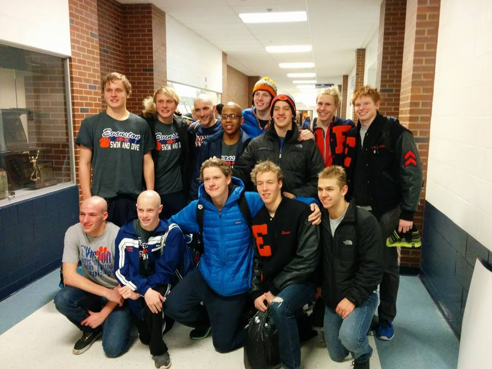 The ETHS boys varsity swim team poses after competing in the regional meet.