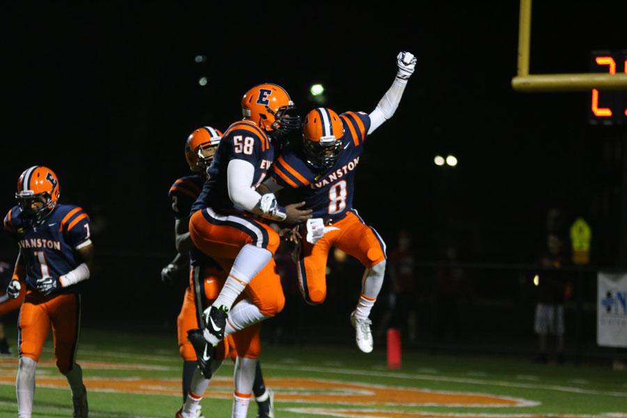 Senior Brandon Hilliard celebrates after a touchdown.