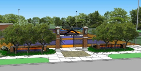 Computer rendered design for the Lake St. Tennis courts