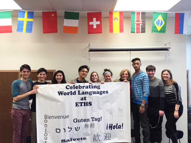 World language students are ready to begin the week's festivities