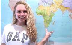 Kiley Leff points to South Africa on a map.