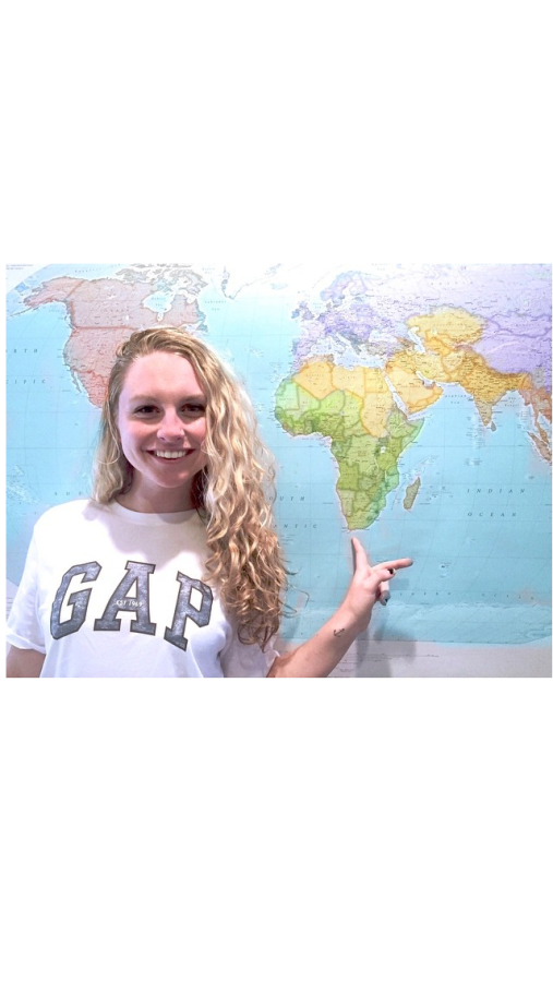 Kiley+Leff+points+to+South+Africa+on+a+map.+