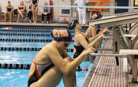 Girls varsity swim and dive, ETHS vs Loyola