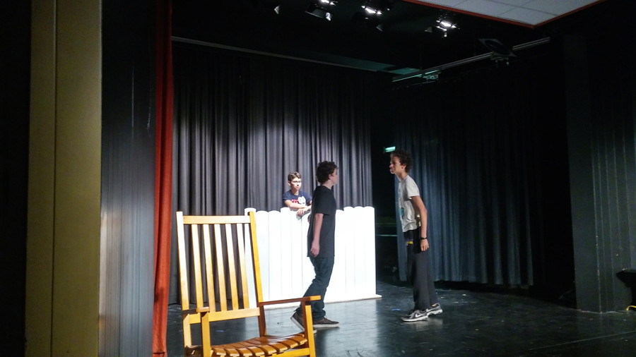 Dylan Dishner, Jacob Wilson, and Grey Turley rehearse an early scene where Tom threatens a new boy in town.