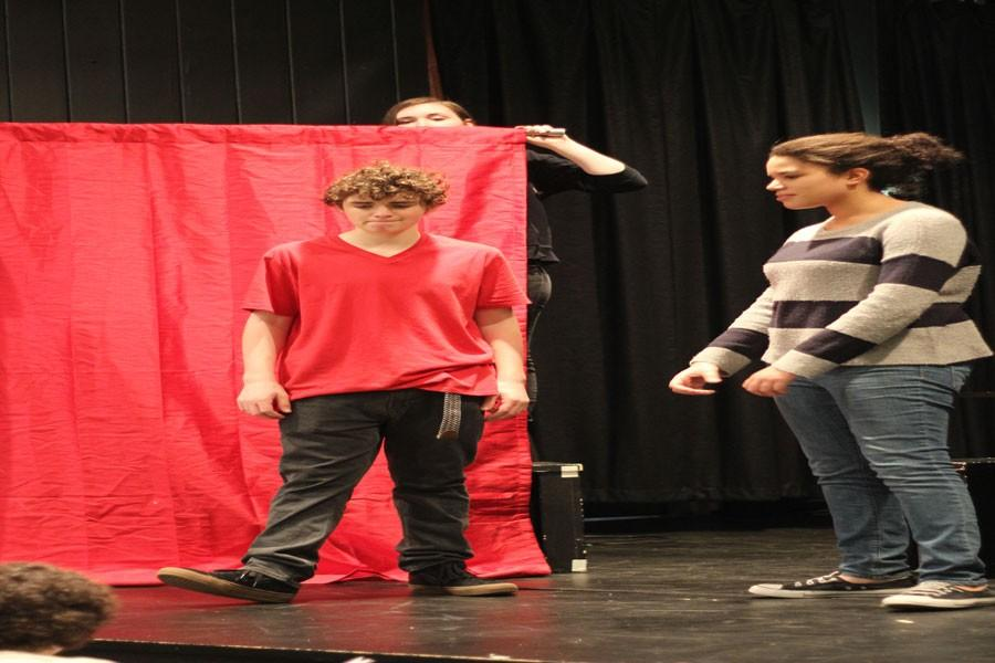 Freshman+Jacob+Wilson+and+Gia+Clarke+rehearse+in+the+Little+Theater.+