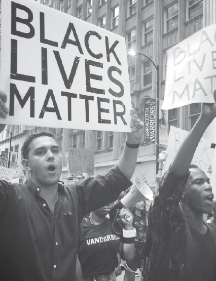 Block marches in a Black Lives Matter protest.