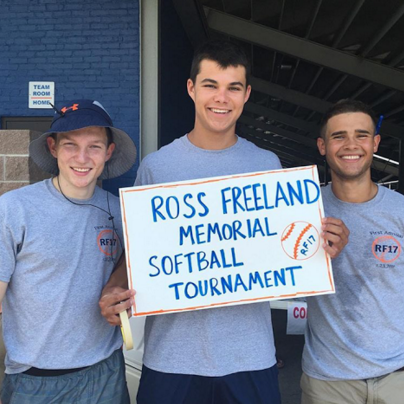 Ben Osterlund, Mark Roth (2015) and Charlie Maxwell (2016) at last year's softball tournament