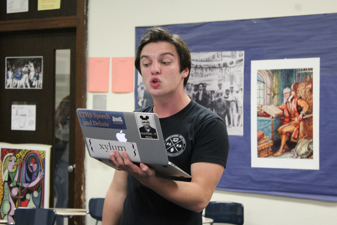 Junior Max Layden perfects his argument.