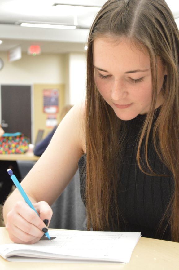Senior Sarah Craig takes a standardized test.