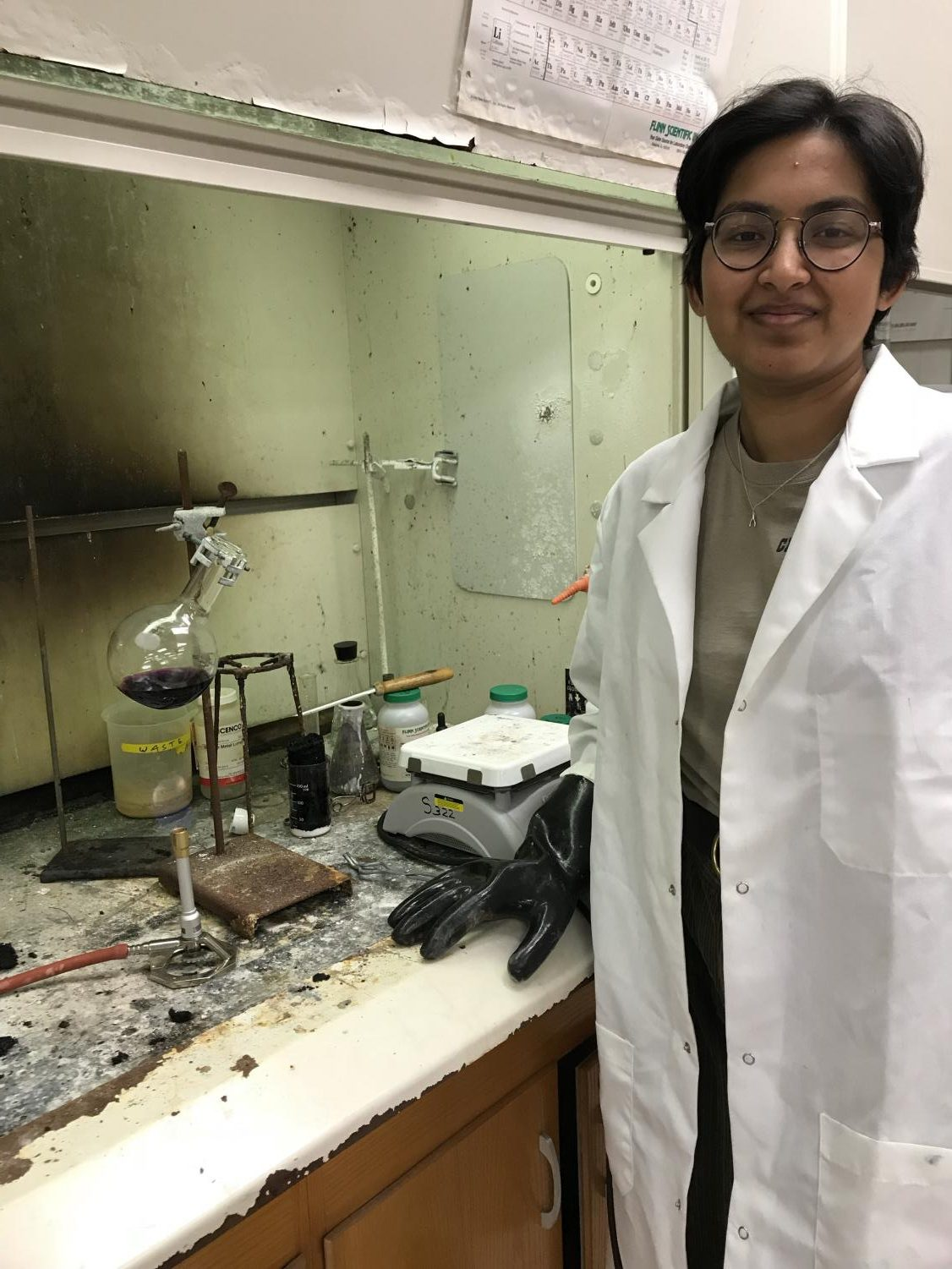 Chirasree Mandal works on a chemistry lab.