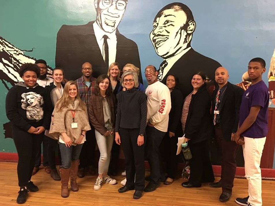 ETHS staff and students visit North Lawndale College Prep, which practices the Kingian Nonviolence philosophy. Photo courtesy of Addie Wyatt Center.