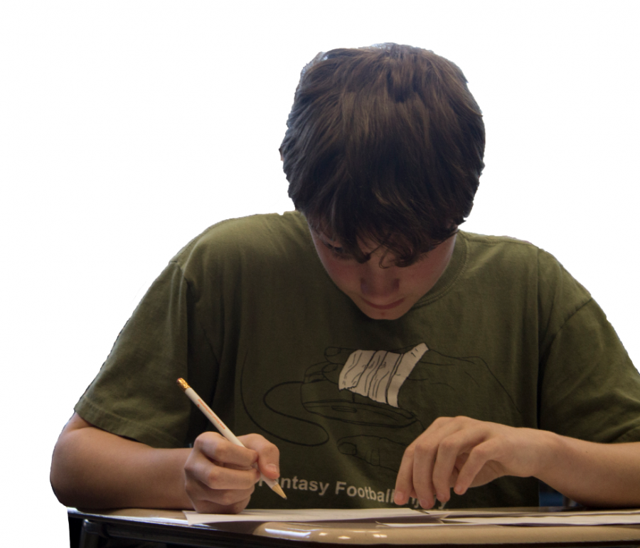 A student practices math problems.