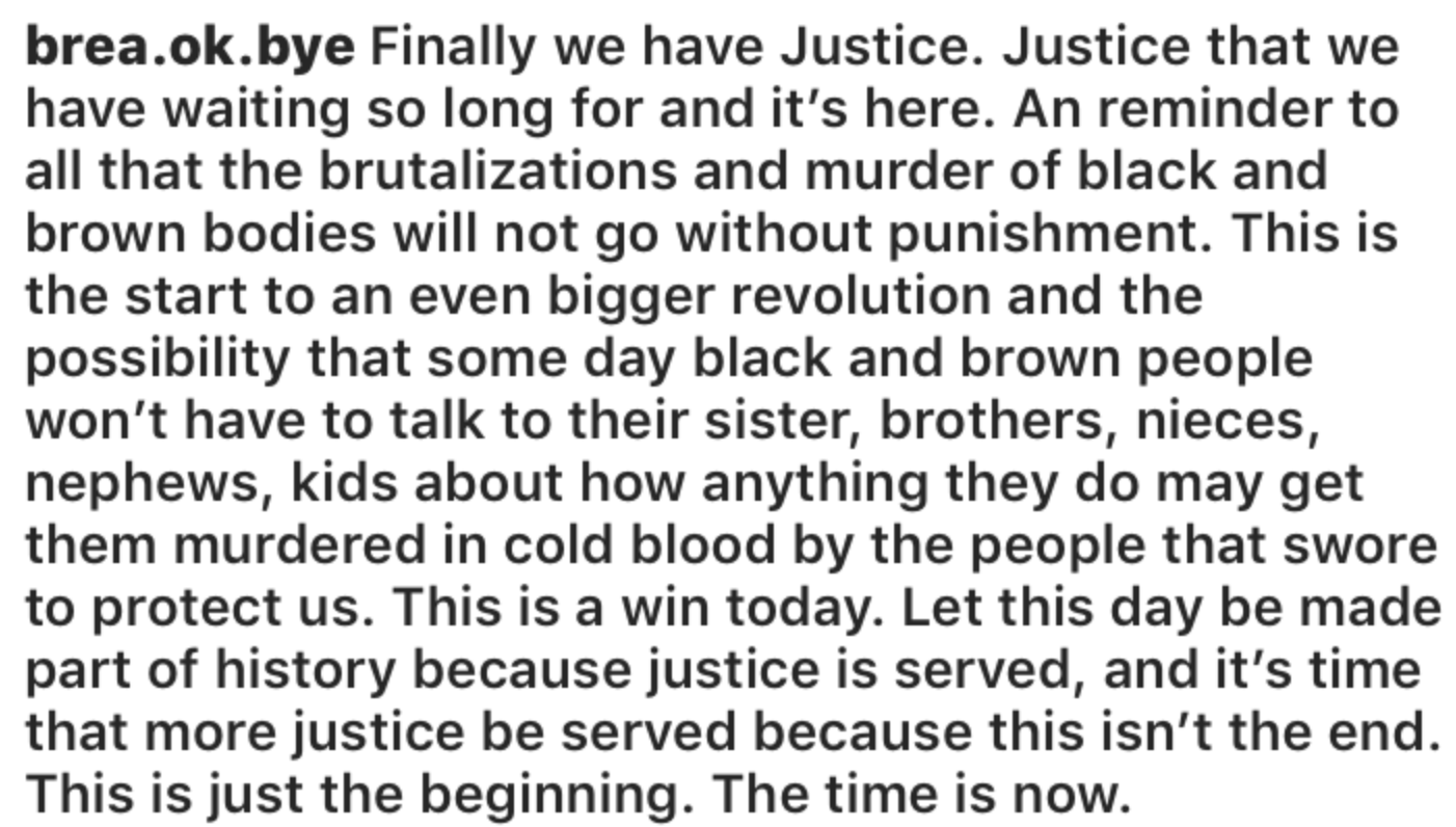 Senior Brea Matthews posted an Instagram reaction to the Van Dyke verdict on Friday.