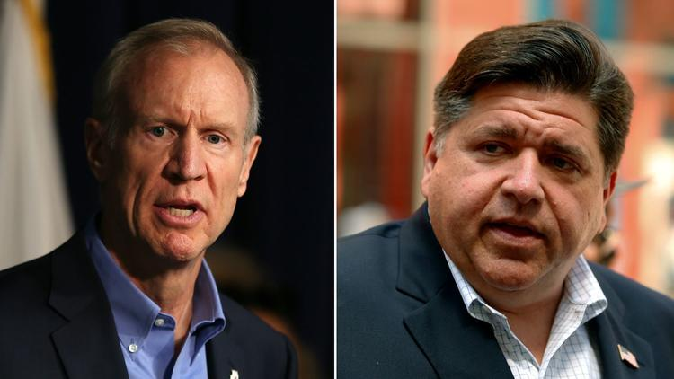 Current+Gov.+Bruce+Rauner%2C+left%2C+and+Democratic+challenger+J.B.+Pritzker.