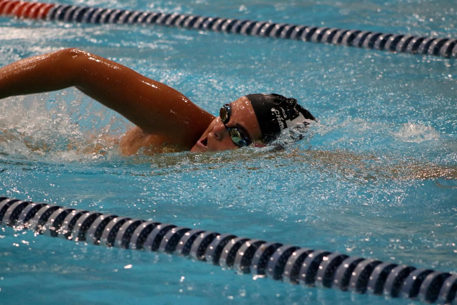 Senior captain Halley Seed swims the freestyle.