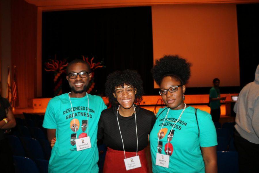 Seniors and student facilitators Dominick McIntsoh, Shyanne Williams, Omarria West.