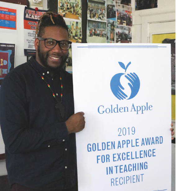 Corey Winchester was awarded a 2019 Golden Apple Award on March 18.