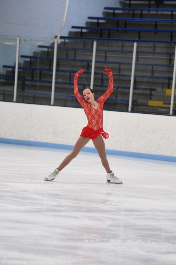 Freshman Lucia Mena skates at the national championship.