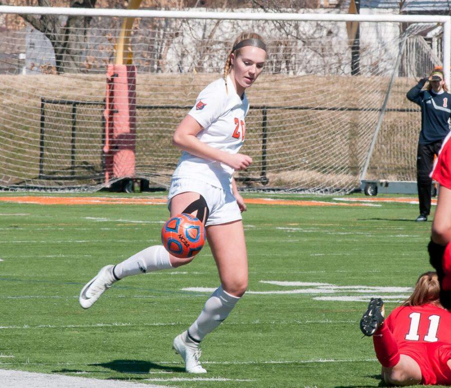 Senior captain Annika Destefano blocks a pass.