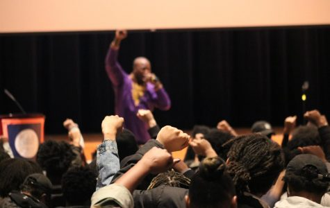 Brandon Brown, President of School Yard Rap, speaks to students at Black Summit on Feb. 21.