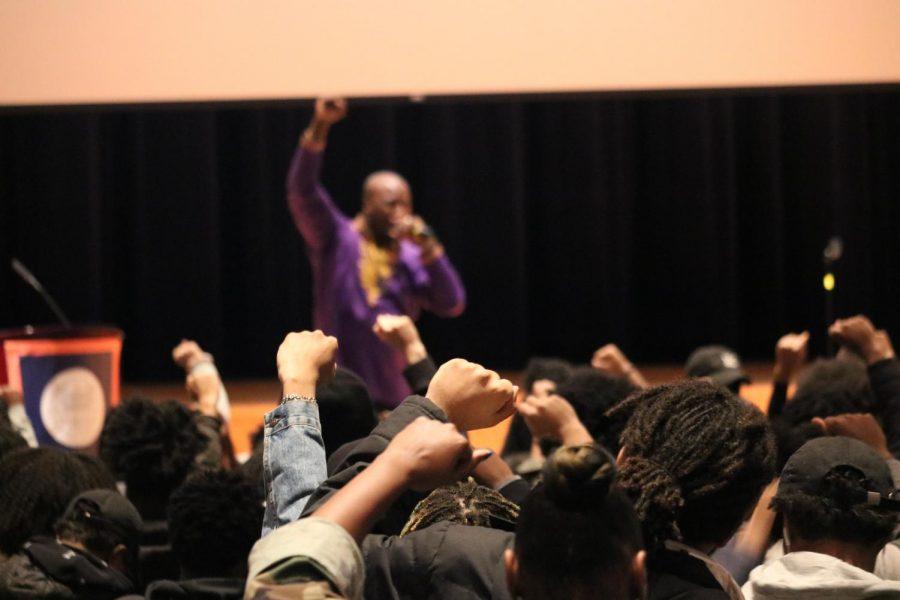 Brandon Brown, President of School Yard Rap, speaks to students at Black Summit on Feb. 21.