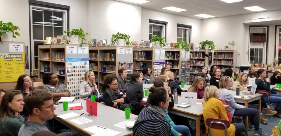 District 65 parents meet at Lincolnwood on Feb. 20.