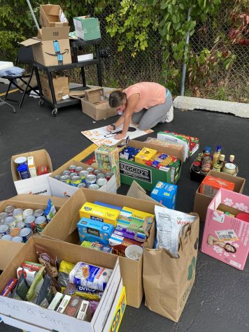 Student volunteers prepare for a fall food drive.